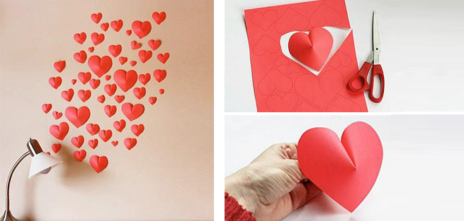Decorar una pared con corazones de papel